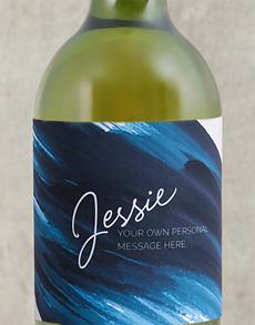 gifts: Personalised Blue Brushstroke Wine!
