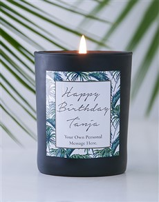 gifts: Personalised Black Gold Leaf Happy Birthday Candle!