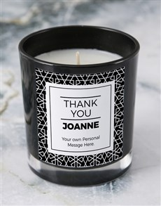gifts: Personalised Black Thank You Candle!