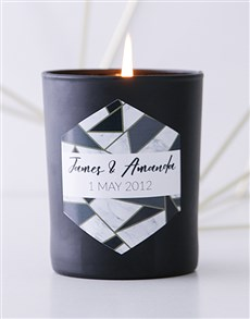 gifts: Personalised Black Marble Anniversary Candle!