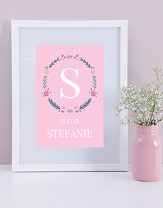 gifts: Personalised Baby Girl Name and Initial Print!