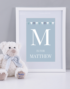 gifts: Personalised Baby Boy Name and Initial Print!