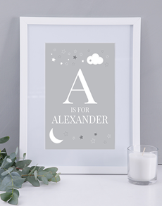 gifts: Personalised Neutral Baby Name and Initial Print!