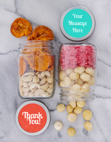 gifts: Personalised Thank You Fruit n Nut Jar Set!