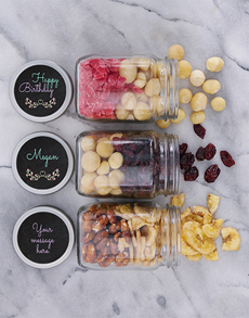 gifts: Personalised Floral Birthday Fruit n Nut Jar Trio!