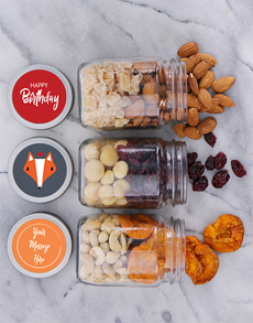 gifts: Personalised Foxy Birthday Fruit n Nut Jar Trio!