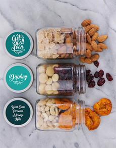 flowers: Personalised Get Well Fruit n Nut Jar Trio!