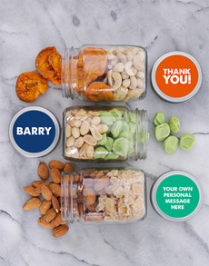 gifts: Personalised Thank You Fruit n Nut Jar Trio!