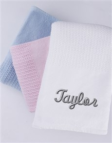 gifts: Personalised Cotton Baby Blanket!
