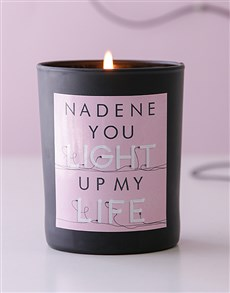 gifts: Personalised Black Light Up My Life Candle!