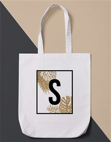 gifts: Personalised Initial Leaf  Tote Bag!