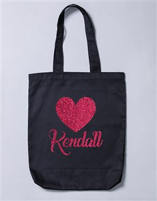 gifts: Personalised Glitter Heart Tote Bag!