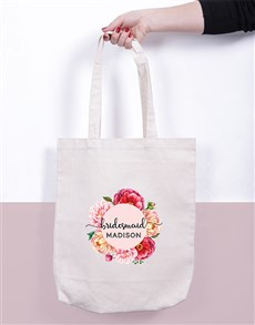 gifts: Personalised Bridesmaid Floral Tote Bag!