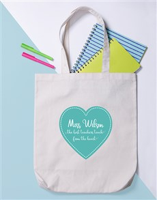 gifts: Personalised Teacher From Heart Tote Bag!