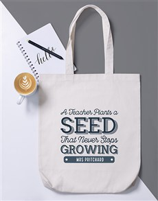 gifts: Personalised Teacher Plants a Seed Tote Bag!