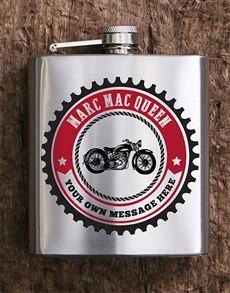 gifts: Personalised Motorcycle Hip Flask!