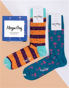 gifts: Personalised Tropical Happy Socks Giftbox!