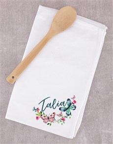 gifts: Personalised Wooden Spoon and Tea Towel Set!