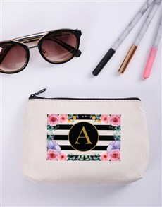 gifts: Personalised Floral Striped Cosmetic Bag!