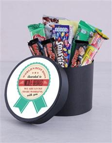 gifts: Personalised Best Boss Award Choc Hat Box!