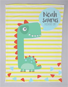 gifts: Personalised Saurus Baby Fleece Blanket!