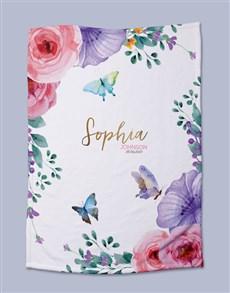 gifts: Personalised Floral Baby Fleece Blanket!