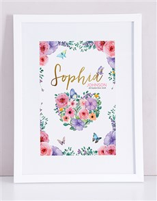 gifts: Personalised Framed Floral Print!