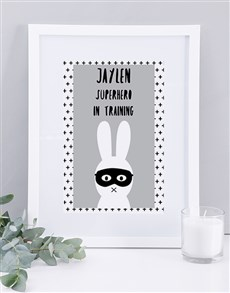 gifts: Personalised Framed Superhero Print!
