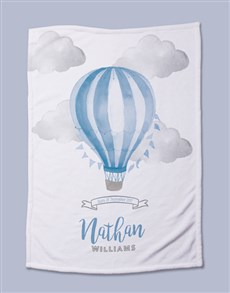 gifts: Personalised Blue Air Balloon Baby Fleece Blanket!