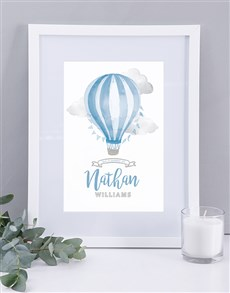 gifts: Personalised Framed  Blue Air Balloon Print!