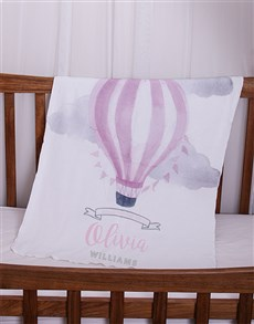gifts: Personalised Pink Air Balloon Baby Fleece Blanket!