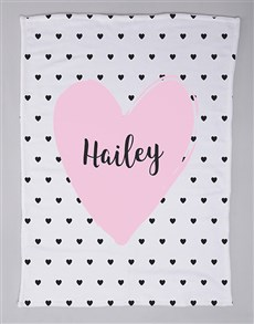 gifts: Personalised Heart Baby Fleece Blanket!