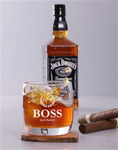 gifts: Personalised Number One Boss Whiskey Glass!