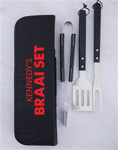 gifts: Personalised Braai Set Braai Tong Bag!