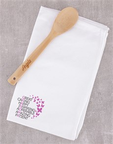 gifts: Personalised Grandma Tea Towel and Wooden Spoon!