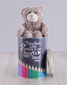 gifts: Personalised Teachers Live Forever Teddy Tin!