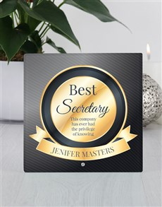 gifts: Personalised Best Secretary Glass Tile!