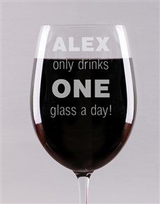 gifts: Personalised One Glass Wine Glass!