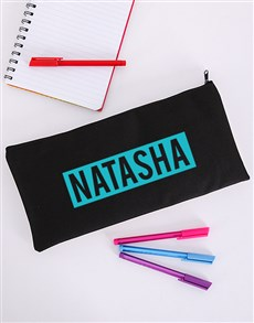 gifts: Personalised Blue Name Pencil Bag!