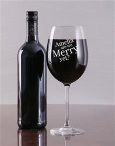 gifts: Personalised Merry Yet Wine Glass!