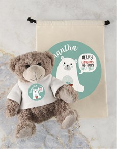 gifts: Personalised Christmas Teddy in Drawstring Bag!