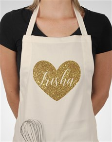gifts: Personalised Glitter Heart Apron!