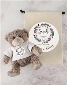 flowers: Personalised Get Well Teddy and Drawstring Bag!