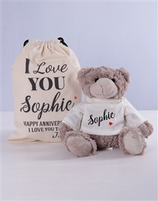 gifts: Personalised Love Teddy and Drawstring Bag!