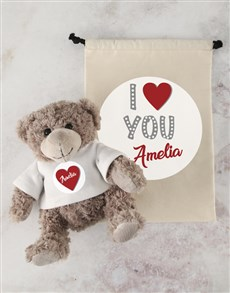 gifts: Personalised Mummy Love Teddy and Drawstring Bag!