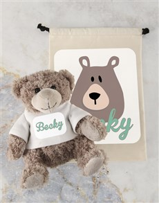 gifts: Personalised Teddy and Drawstring Bag!