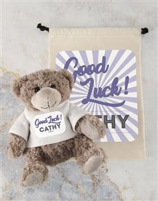 gifts: Personalised Good Luck Teddy and Drawstring Bag!