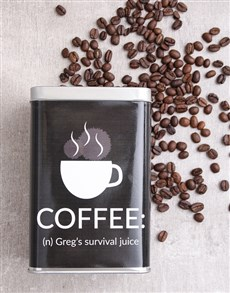 gifts: Personalised Survival Juice Coffee Tin!