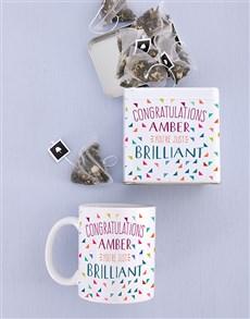 gifts: Personalised Congrats Mug and Tea Tin!