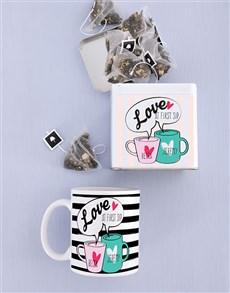 gifts: Personalised Love at First Sip Mug and Tea Tin!